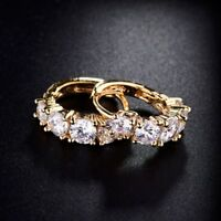 Fashion Jewellery Womens 18k Gold Filled White Swarovski Crystal Hoop Earrings
