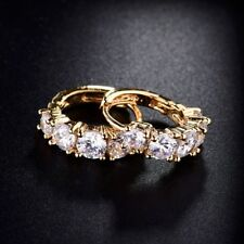 Fashion Jewellery Womens 18k Gold Filled White Swarovski Crystal Hoop Earrings