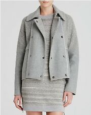 NWT $695 VINCE HEATHER GREY SHERPA BOUCLE PEA COAT SWEATER JACKET Size L