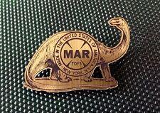 Custom Marx Prehistoric Dinosaur Playset Logo Pinback Badge Brontosaurus
