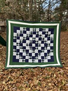 """Handmade Flannel Patchwork Quilt Green Yellow Plaid 72"""" x 82"""" Green Bay Packers"""