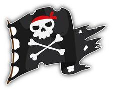 Cartoon Pirate Flag Car Bumper Sticker Decal 5'' x 4''