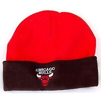 NBA Chicago Bulls Cuff Fleece Beanie Cap Hat- Red Black