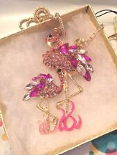 Betsey Johnson Necklace FLAMINGO Mom Baby Pink Gold Crystals Gift Box