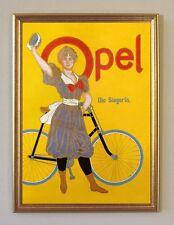 Opel Die Siegerin Fahrrad Plakat 1910 Faksimile 37 Büttenpapier im Goldrahmen
