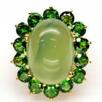 NATURAL 11 X 16 mm. GREEN PREHNITE & CHROME DIOPSIDE 925 SILVER RING SZ 6.75