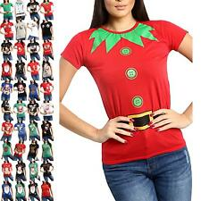 Ladies Womens Christmas Xmas Elf Belt Buttons Costume Cap Sleeve Top Tee Shirt