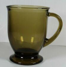 Beautiful Vintage Anchor Hocking Amber/Brown Glass Footed Coffee Mug Tea Cup