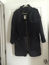New Asos Long Coat With Detail Black Size 4 New