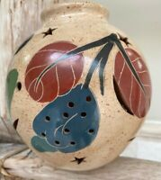Vintage Ceramic Pottery Luminary Nicaragua Candle Holder Hand-Painted Folk Art