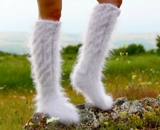 SUPERTANYA WHITE Hand knitted mohair socks Fuzzy handcrafted leg warmers SALE