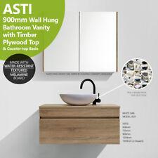 ASTI | 900mm White Oak Timber Wood Grain Wall Hung Vanity w Plywood Timber Top