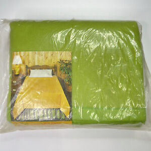 Vintage Beacon Green Acrylic Blanket Twin Full 72x90 Nylon Binding NOS