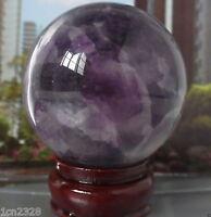 62MM +Stand Glow In The Dark Natural Purple Fluorite Magic Crystal Healing Ball