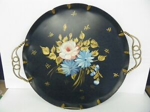 Vintage FARBER & SHLEVIN Hand Painted Handled Round Tole Serving Tray Platter