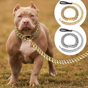 Bling Rhinestone Dog Chain Collar with Matched Leash Set Heavy Duty Metal Choker