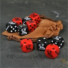NEW 10 Dragon Black Red Dice + Bag Set D&D Fantasy RPG Game Six Sided D6 Koplow