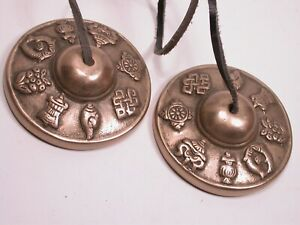 Vintage Brass Tibetan Buddhist Symbolic Tingsha Meditation Bells