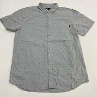 Molokai Surf Co. Button Up Shirt Men's 2XL XXL Short Sleeve Gray Cotton Blend