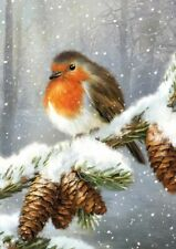 HEART OF KENT HOSPICE CHARITY CHRISTMAS CARDS : PINECONE ROBIN 10 PK