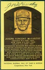 BASEBALL JOE MC CARTHY AUTOGRAPH ON HALL OF FAME POSTCARD, VF