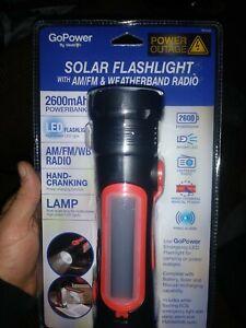 GOPOWER Emergency Solar/Crank Flashlight + 2600mAh Powerbank + Weatherband Radio