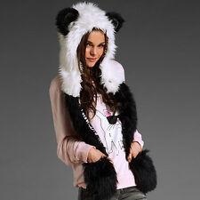 XD#3 Hat Scarf Fluffy Plush Cap Ear Hood Shawl Glove Unisex