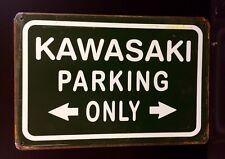 Kawasaki Parking Only Metal Sign / Vintage Retro  Garage Wall Decor (30 x 20cm)