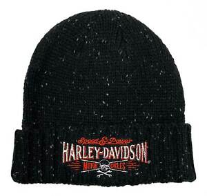 Harley-Davidson Men's Villain Embroidered Heavy Ribbed Cuff Beanie Hat - Black