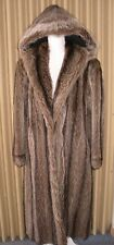 Luxurious Natural Silver Tip RACCOON HOODED FUR COAT Size L