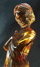 "Vintage Cambridge Glass Amber Draped Lady 8-1/2"" Flower Holder Frog"