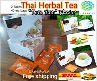 "Thai Herbal Tea ""Tom Yum"" Taste Hillkoff Healthy Aroma Hot/Cold 2 Bxs 40 Sachets"