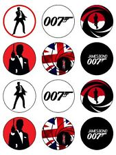 "12 x James Bond 007 2""  PRE-CUT PREMIUM RICE PAPER Fairy Cup Cake Toppers"