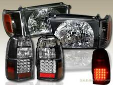 1996-98 TOYOTA 4RUNNER JDM BLACK HEADLIGHTS CORNER LIGHTS + LED TAIL LIGHT BLACK
