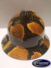 Yellow Boa pattern Full Brim New Custom MSA V-Gard Hard Hat W/Fas-Trac Ratchet