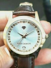 Yves CAMANI Gold Plated Twinkle  Unisex Watch With Leather Strap