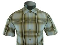 New Tommy Bahama Brown Plaid Camp Shirt Short Sleeve Market Street Icicle Small