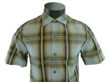 New Tommy Bahama Brown Plaid Camp Shirt Small Short Sleeve Market Street Icicle