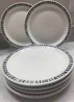 VTG, MCM, Sterling China Wellsville OH Restaurantware black trim,6 Dinner plates