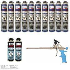 IRTEX PU Schaum 10 x Pistolenschaum + 2 Reiniger + 1 Metall Pistole Bauschaum