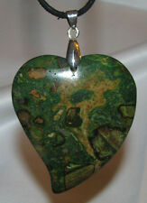 Green Ghost eyes jasper heart stone pendant leather necklace healing jewelry wow