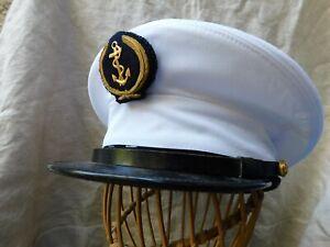 CASQUETTE BLANCHE MARINE NATIONALE TOUR DE TETE 57 DATEE 1996 ORIGINAL NAVY CAP