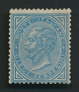 ITALY STAMP 1877 VEII 10c BLUE, Sc #28, MINT WITH GUM, MNH VERY FINE