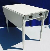 Antique/Vtg Shabby Chic White Distressed Solid Mahogany Drop Leaf Table Drawer