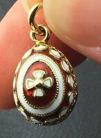 Vintage 14k yellow gold enameled Egg charm/pendant, 4.0 grams