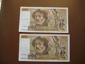 Lot de 2 billets de 100F Delacroix ( sans coupures )