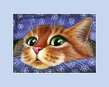 Ginger Cat ACEO Print Who Is Calling? by Irina Garmashova