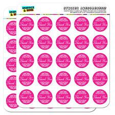 "Thank You Elegant Scrolls Pink 1"" Scrapbooking Crafting Stickers"