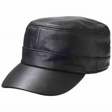 85b61114ddfd BLACK Genuine Leather CADET CAP Adjustable Biker Motorcycle Ball Flat  Castro Hat