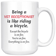 Funny Vet Receptionist Coffee Mug Gift, Vet Office Worker, Veterinary Medicine